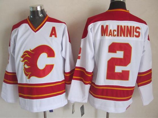 Mens reebok nhl calgary flames #2 macinnis white throwbacks Jersey