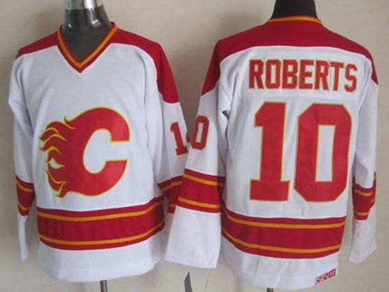 Mens nhl calgary flames #10 roberts white throwbacks Jersey