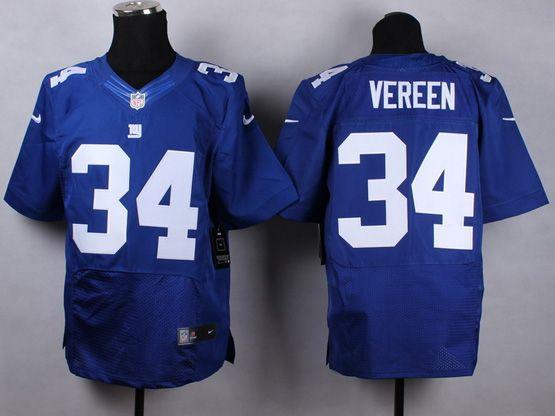 Mens Nfl New York Giants #34 Vereen Blue Elite Jersey
