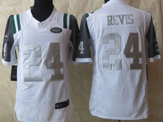 Mens Nfl New York Jets #24 Revis White (silver Number) Platinum Limited Jersey