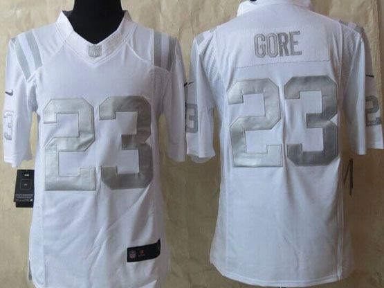 Mens Nfl Indianapolis Colts #23 Gore White (silver Number) Platinum Limited Jersey