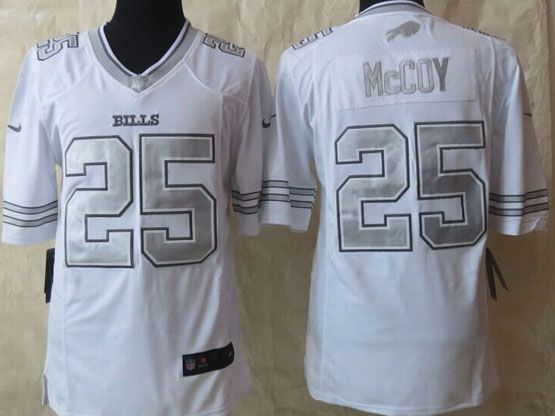 Mens Nfl Buffalo Bills #25 Lesean Mccoy White (silver Number) Platinum Limited Jersey