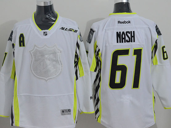 Mens reebok nhl 2015 all star new york rangers #61 nash white Jersey
