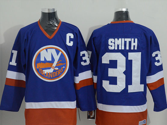 Mens nhl new york islanders #31 smith blue throwbacks Jersey