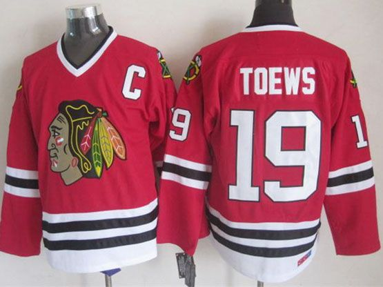 Mens nhl chicago blackhawks #19 toews red throwbacks Jersey