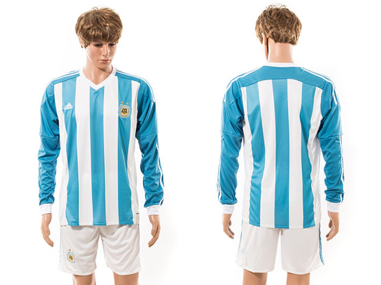 Mens 15-16 Soccer Argentina National Team (blank) White Home Long Sleeved Jersey Set