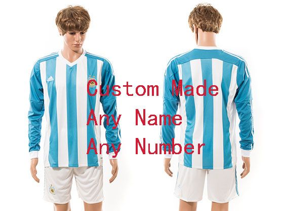 mens 15-16 soccer argentina national team (custom made) white home long sleeved Suit Jersey