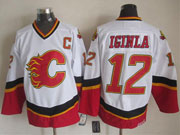 Mens nhl calgary flames #12 iginla white throwbacks Jersey