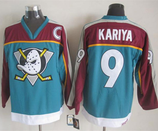 Mens nhl anaheim mighty ducks #9 kariya blue throwbacks Jersey