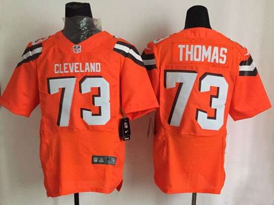 Mens Nfl Cleveland Browns #73 Thomas Orange Elite (2015 New) Jersey