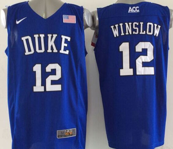 Mens Ncaa Nba Duke Blue Devils #12 Winslow Blue (v Neck) Jersey