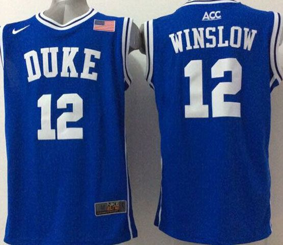 Mens Ncaa Nba Duke Blue Devils #12 Winslow Blue (round Neck) Jersey
