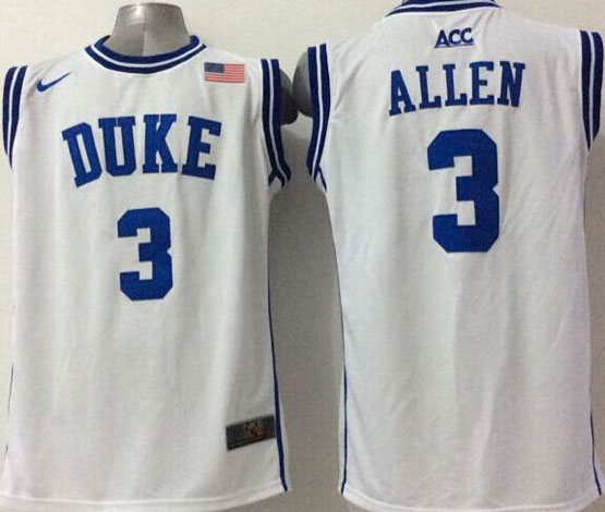 Mens Ncaa Nba Duke Blue Devils #3 Allen White (round Neck) Jersey