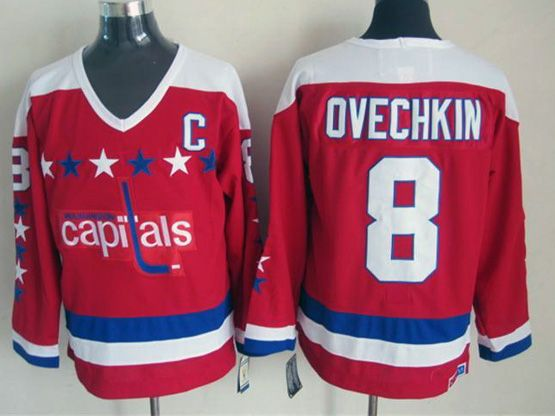 Mens nhl washington capitals #8 ovechkin red classics throwbacks Jersey