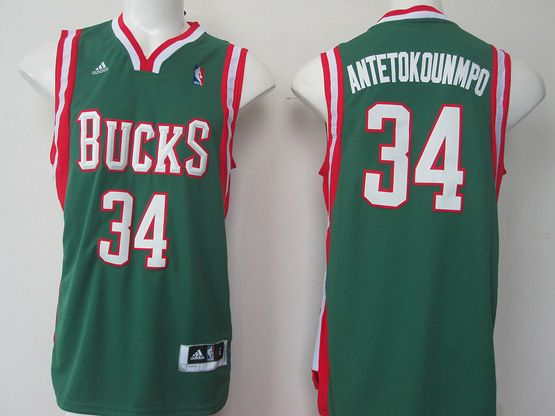 Mens Nba Milwaukee Bucks #34 Antetokounmpo (bucks) Green V Collar Jersey