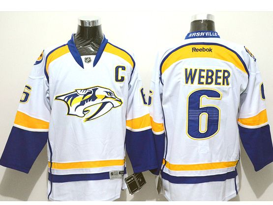 Mens reebok nhl nashville predators #6 weber white (2014 new) Jersey