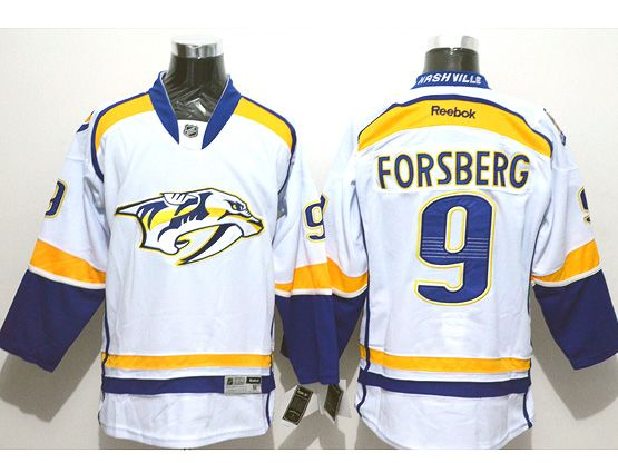 Mens reebok nhl nashville predators #9 forsberg white (2014 new) Jersey