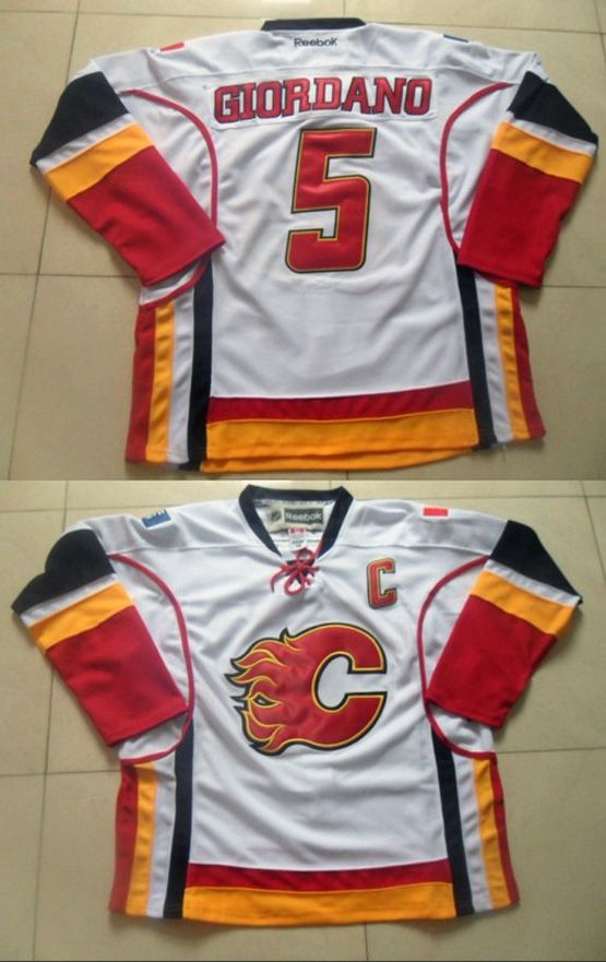 Mens Reebok Nhl Calgary Flames #5 Giordano White C Patch Jersey