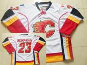 Mens Reebok Nhl Calgary Flames #23 Monahan White Jersey