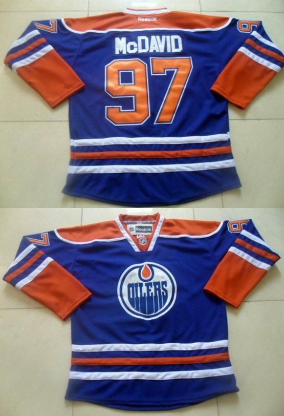 Mens Reebok Edmonton Oilers #97 Connor Mcdavid Royal Blue Home Premier Jersey