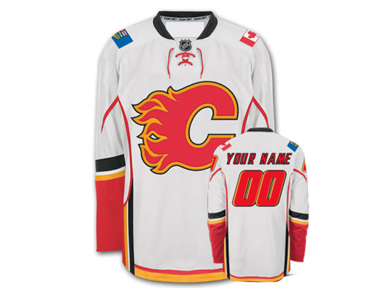 Mens Women Youth Reebok Calgary Flames White Away Premier Jersey