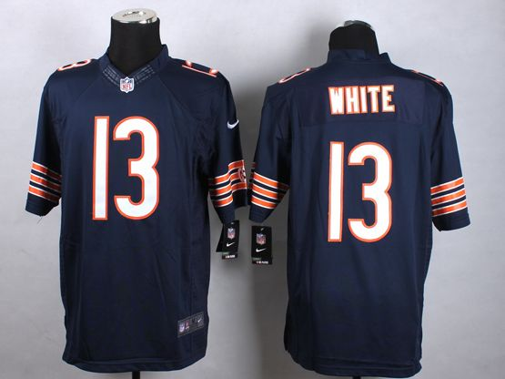 Mens Nfl Chicago Bears #13 White Blue Limited Jersey