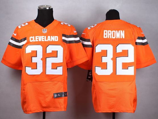 Mens Nfl Cleveland Browns #32 Brown Orange (2015 New) Elite Jersey