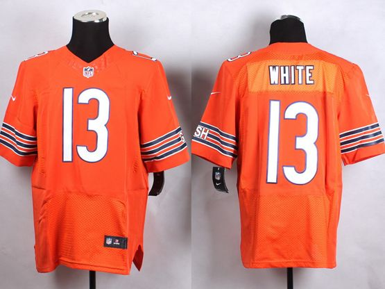 Mens Nfl Chicago Bears #13 White Orange Elite Jersey