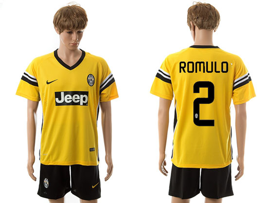 Mens 15-16 Soccer Juventus Club #2 Romulo Away Yellow Jersey Set