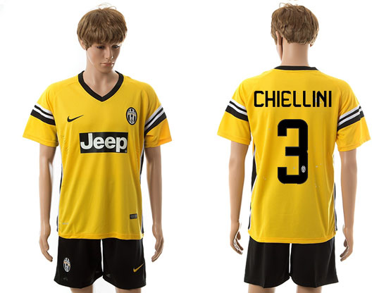 Mens 15-16 Soccer Juventus Club #3 Chiellini Away Yellow Jersey Set
