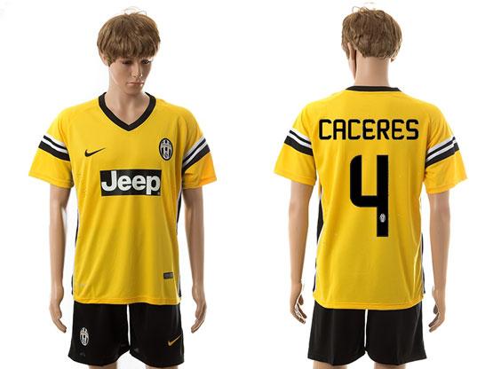 Mens 15-16 Soccer Juventus Club #4 Caceres Away Yellow Jersey Set