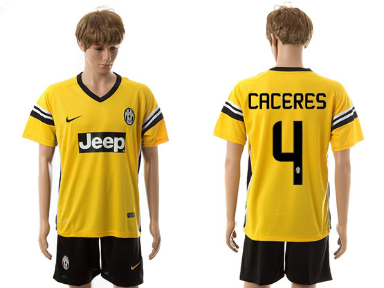 mens 15-16 soccer juventus club #4 caceres away yellow Suit Jersey