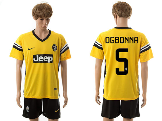 mens 15-16 soccer juventus club #5 ogbonna away yellow Suit Jersey
