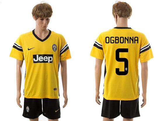 Mens 15-16 Soccer Juventus Club #5 Ogbonna Away Yellow Jersey Set