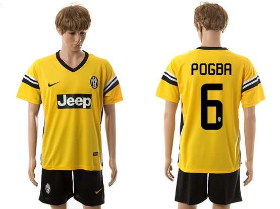 Mens 15-16 Soccer Juventus Club #6 Pogba Away Yellow Jersey Set