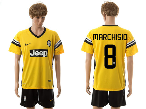 Mens 15-16 Soccer Juventus Club #8 Marchisio Away Yellow Jersey Set