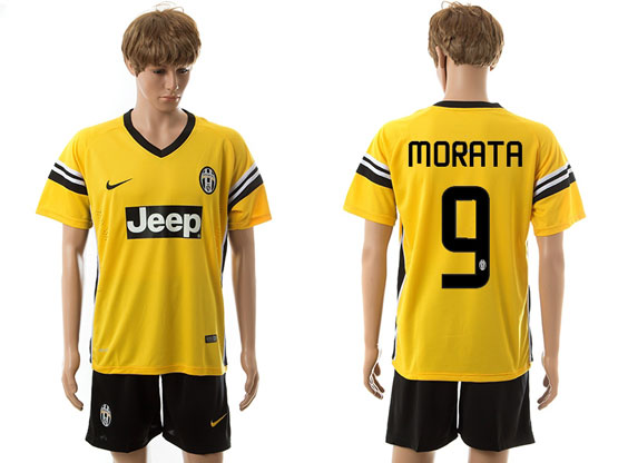 Mens 15-16 Soccer Juventus Club #9 Morata Away Yellow Jersey Set