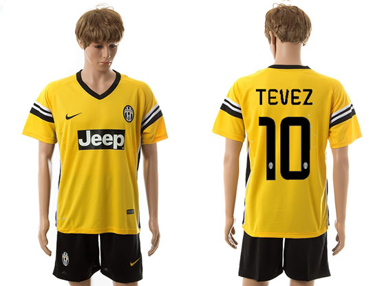 Mens 15-16 Soccer Juventus Club #10 Tevez Away Yellow Jersey Set
