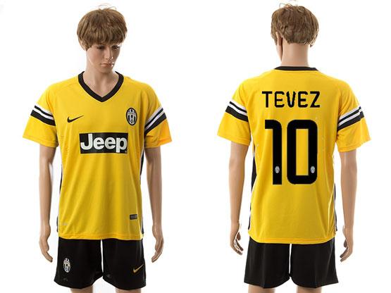 mens 15-16 soccer juventus club #10 tevez away yellow Suit Jersey