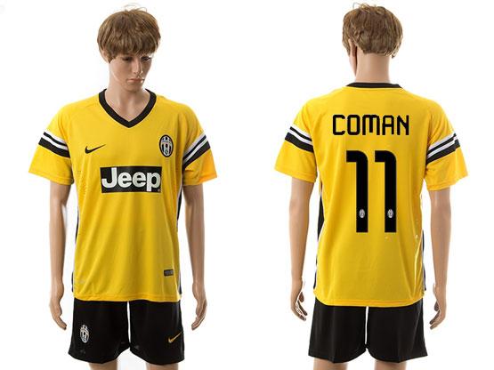 mens 15-16 soccer juventus club #11 coman away yellow Suit Jersey