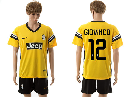Mens 15-16 Soccer Juventus Club #12 Giovinco Away Yellow Jersey Set