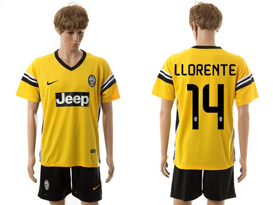 Mens 15-16 Soccer Juventus Club #14 Llorente Away Yellow Jersey Set