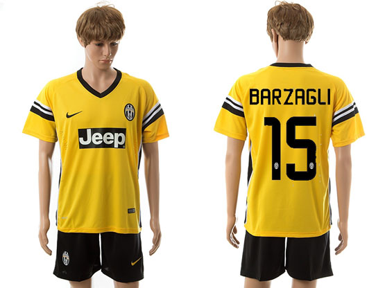 Mens 15-16 Soccer Juventus Club #15 Barzagli Away Yellow Jersey Set