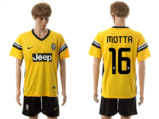 Mens 15-16 Soccer Juventus Club #16 Motta Away Yellow Jersey Set