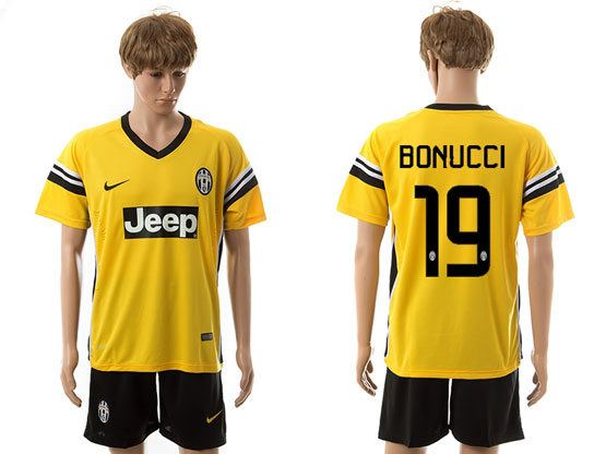 mens 15-16 soccer juventus club #19 bonucci away yellow Suit Jersey