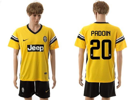Mens 15-16 Soccer Juventus Club #20 Padoin Away Yellow Jersey Set
