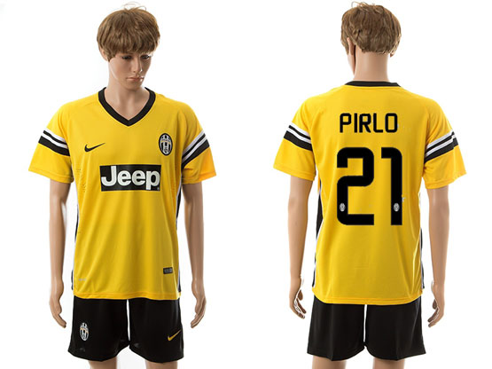 Mens 15-16 Soccer Juventus Club #21 Pirlo Away Yellow Jersey Set
