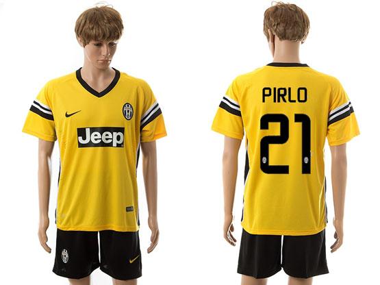 Mens 15-16 Soccer Juventus Club #21 Pirlo Away Yellow Jersey Set