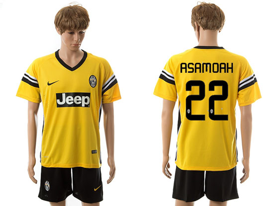 Mens 15-16 Soccer Juventus Club #22 Asamoah Away Yellow Jersey Set