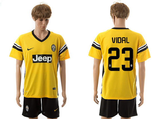 Mens 15-16 Soccer Juventus Club #23 Vidal Away Yellow Jersey Set